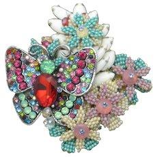STANLEY HAGLER  Butterfly Rhinestone Seed Pearl Gilt Brooch Pin