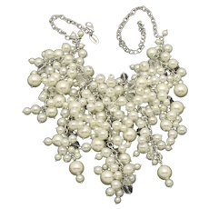 SCAASI Bridal Faux Pearl Crystal Waterfall Couture  Necklace