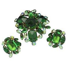 Signed SCHREINER Emerald Green Crystal Brooch Earring Set