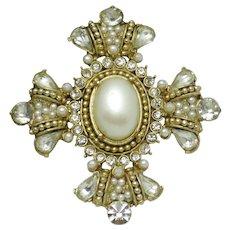 Ornate Maltese Cross  Rhinestone Faux Pearl Brooch Pin