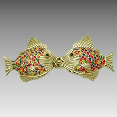 Signed MIMI DI N 1981  Rainbow Kissing Fish  Belt Buckle