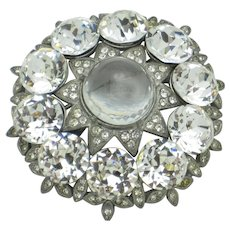 Signed EISENBERG ORIGINAL Large Domed Rhinestone Brooch Pin