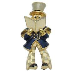 Very Rare JOMAZ Caroler Figural Brooch Pin