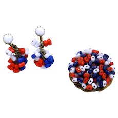 HOBE Red White Blue Glass Beads Patriotic Brooch Earrings SET