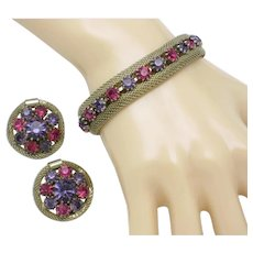 WEISS Fuchsia Purple Bracelet and Earrings Mesh Bracelet