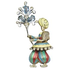 Very Rare 1947 MB Boucher STERLING Figural 'Indian Boy' Clip Pin  BK PC