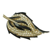 CINER Figural Leaf Brooch Pin Black Enamel Rhinestone