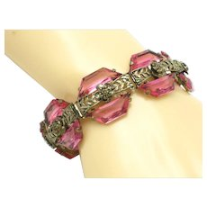 Ornate CZECH Art Deco 1920s Pink Glass Trapezoid Bracelet