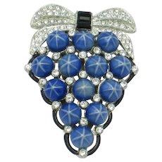 ART DECO  Blue Starburst Cabochon Rhinestone Enamel Dress Clip Pin