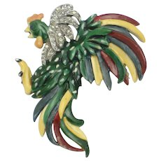 CINER 'Fighting Rooster' Enamel Rhinestone Figural Brooch Pin