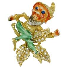 Vintage Signed CFW - HAR Figural Elf Dwarf Brooch