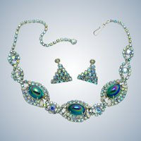 Gorgeous ALICE CAVINESS Vitrail Peacock Glass Necklace Earrings Set