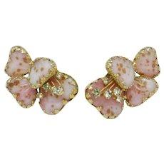 HOBE Vintage Pink Mayorka Petals Art Glass  Clip Style Earrings Julio Marsella