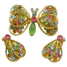 Signed JUDY LEE  Pastel  Butterfly Figural Brooch and Earrings