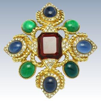 CINER Moghul Ruby Emerald Sapphire Cabochon Maltese Cross Brooch Pin & Pendant