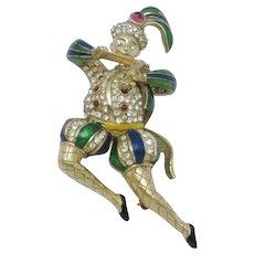 Rare CINER Jester Figural Brooch Pin Violin Man Rhinestone Enamel 1960s