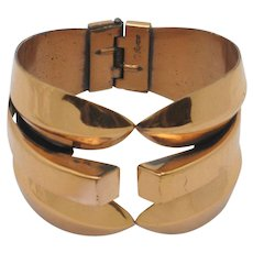Signed REBAJES Vintage Wide Copper Hinged Bracelet