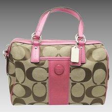 COACH Signature Logo Pink Stripe Purse Handbag Satchel F24364