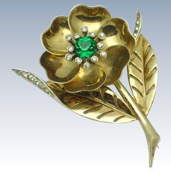 MB BOUCHER  Rhinestone Day Night Flower Vintage1940s Phrygian