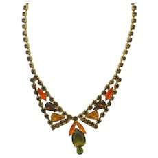 WEISS Vintage Fall Colors Rhinestone Choker Style Necklace