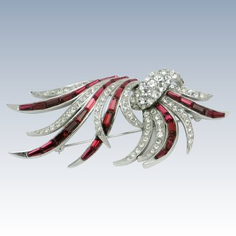BOUCHER Feather Brooch Ruby Baguette Rhinestone Pin Gorgeous