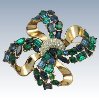 CROWN TRIFARI Jeweled Symphony Bow Knot Brooch Pin