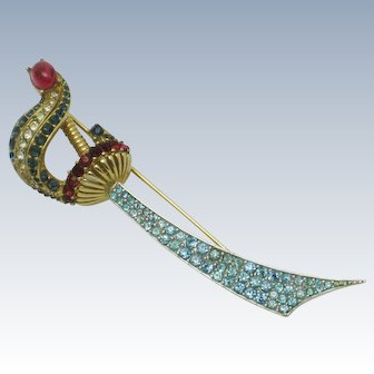 Rare Vintage CINER Rhinestone Figural Brooch Sword, Scimitar