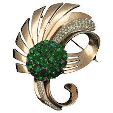 Vintage PENNINO STERLING  Emerald Green Crystal Rhinestone Brooch