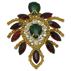 Large JULIANA Ruby Emerald Crystal Vintage Brooch Pin
