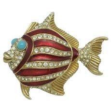 CINER Vintage Rhinestone Red Enamel Fish Figural Brooch