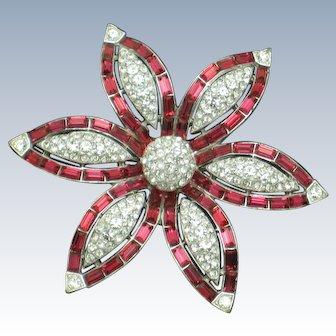 Vintage Ruby Baguette Pave Crystal Floral Brooch