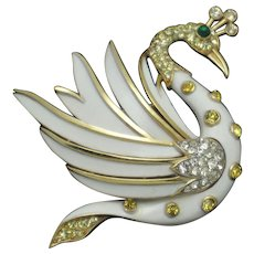 CROWN TRIFARI  White Enamel Swan Bird Figural Brooch Pin