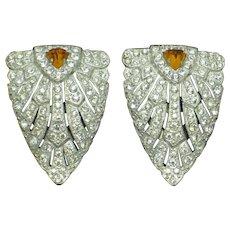 ART DECO Circa 1930s Pair Rhinestone Shield Dress Clips