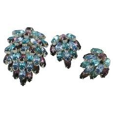 WEISS Signed WEISSCO  Waterfall Dress Clip Pin Earring SET 1940s