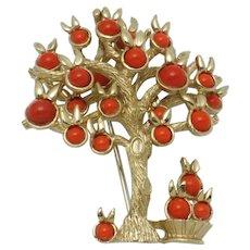 VERY RARE Signed BOUCHER  Orange Fruit Tree & Basket Figural Brooch Pin