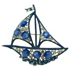 Art Deco 1930s  Moonstone, Rhinestone Enamel Figural Clipper Ship Brooch Pin