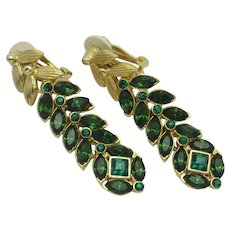Vintage Designer Drop Dangle Gold Plated Rhinestone Clip Earrings