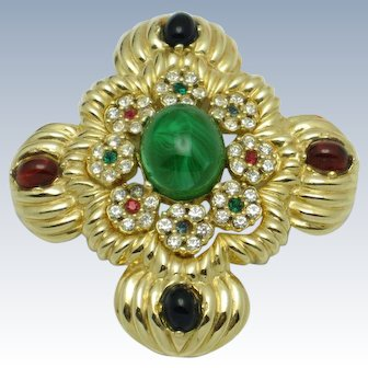 CINER  Jewels of India Moghul Style Brooch Pin and Pendant
