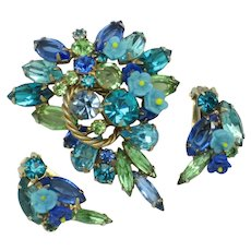 ALICE CAVINESS  Shades of Blue Rhinestones Brooch and Earrings SET