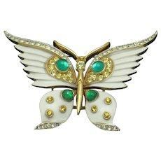 CROWN TRIFARI Butterfly Enamel Cabochons Rhinestones Figural Brooch Pin