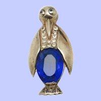 1940s STERLING Vermeil Glass Belly  Penguin Figural Brooch