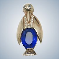 1940s STERLING Vermeil Glass Belly  Penguin Figural Brooch