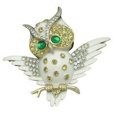 CROWN TRIFARI Owl on Branch Enamel Rhinestones Figural Brooch