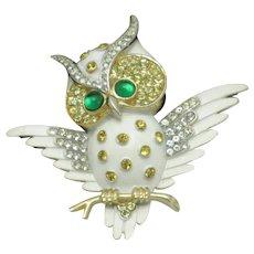 CROWN TRIFARI Owl on Branch Enamel Rhinestones Figural Brooch