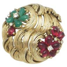 BOUCHER  Ruby Emerald Cabochon  Moghul Style Brooch Pin