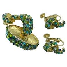 HATTIE CARNEGIE Emerald Green Rhinestone Mushroom Toadstool  Brooch Earrings SET