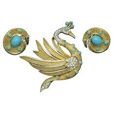 CROWN TRIFARI Swan Bird Brooch Earrings SET Vintage 1960s
