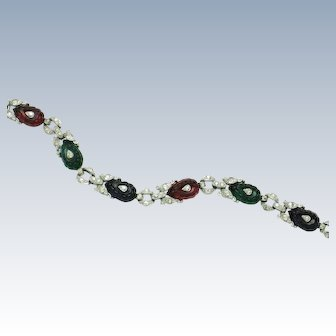 Rare TRIFARI Fruit Salad Bracelet Emerald, Ruby, Sapphire Rhodium Plate
