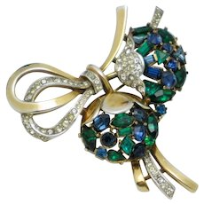 CROWN TRIFARI ' Jeweled Symphony' Rhinestone Brooch and Pendant