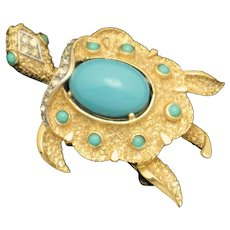 CROWN TRIFARI Vintage  1960s Turtle Figural Brooch Pin